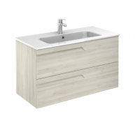Royo Vitale 1000mm 2 Drawer Wall Unit and Square Ceramic Basin in Light Oak
