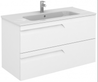 Royo Vitale 1000mm 2 Drawer Wall Unit and Square Ceramic Basin in Gloss White