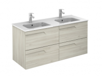 Royo Vitale 1200mm 4 Drawer Wall Unit and Square Ceramic Basin in Light Oak