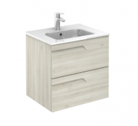 Royo Vitale 600mm 2 Drawer Wall Unit and Square Ceramic Basin in Light Oak