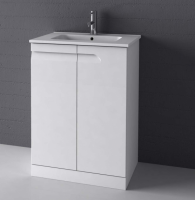 Royo Vitale 600mm Floor Standing Unit and Square Ceramic Basin in Gloss White