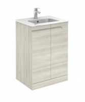 Royo Vitale 600mm Floor Standing Unit and Square Ceramic Basin in Light Oak