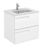 Royo Vitale 600mm Slimline 2 Drawer Wall Unit and Square Ceramic Basin in Gloss White