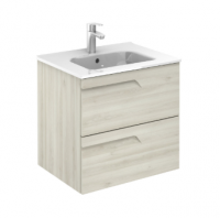 Royo Vitale 600mm Slimline 2 Drawer Wall Unit and Square Ceramic Basin in Light Oak