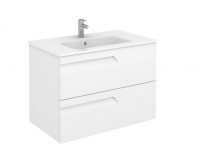 Royo Vitale 800mm 2 Drawer Wall Unit and Square Ceramic Basin in Gloss White