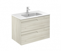 Royo Vitale 800mm 2 Drawer Wall Unit and Square Ceramic Basin in Light Oak