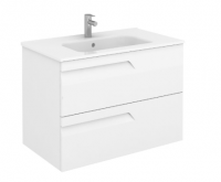 Royo Vitale 800mm Slimline 2 Drawer Wall Unit and Square Ceramic Basin in Gloss White