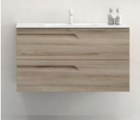 Royo Vitale 800mm Slimline 2 Drawer Wall Unit and Square Ceramic Basin in Light Oak