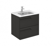 Royo Vitale 600mm 2 Drawer Wall Unit and Square Ceramic Basin in Urban Grey