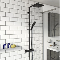 Nero Black Square Thermostatic Dual Shower Head