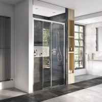 Decem Level Access Sliding Door Shower Enclosure - 1400mm - Alcove Fitting - Roman Showers