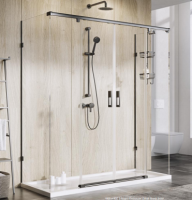 Roman Liberty 1700 x 800mm Two Sliding Door Shower Enclosure with In-line and Side Panels, 8mm Glass