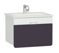 Vitra D-Light 700mm Washbasin Unit - Matt White - Purple