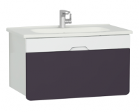 Vitra D-Light 900mm Washbasin Unit - Matt White - Purple
