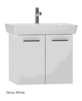 Vitra S20 650mm Gloss White Double Door Vanity Unit & Basin