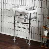 500mm Traditional Basin with Heated Chrome Washstand - Holborn
