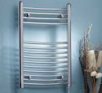 K-Rad Electric Only Towel Warmer - Chrome - Curved - 800 x 500