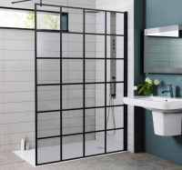 Kartell Krittle Black Grid Wetroom Glass Panel - 700mm
