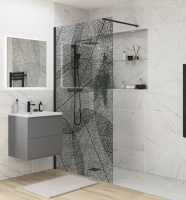 Black Leaf Wetroom Glass Panel - 1200mm - Reflexion 8