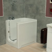 Maestro - Compact Walk In Deep Soaker Bath  (900 x 650mm) With Front & Side Panel