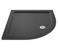 700 x 700 - Quadrant Shower Tray - Nuie Pearlstone Slate Grey - FREE Waste