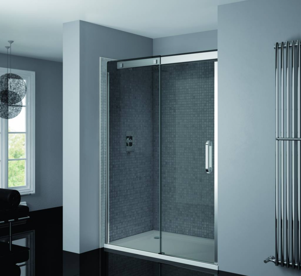 Prestige Smoked Glass Sliding Shower Door 1200mm by April