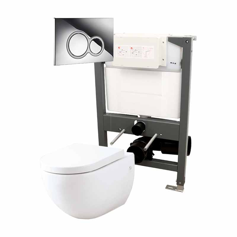 Essentials 820mm  Frame & Opaz Pan Pack Inc Round Flush Plate