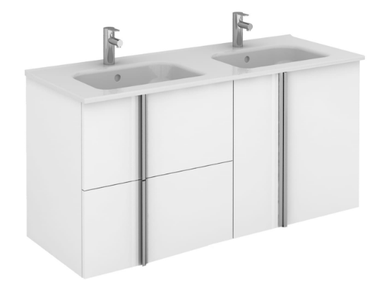 Royo Onix 1200mm 2 Drawer, 2 Door Wall Unit with Double Ceramic Basins in Gloss White