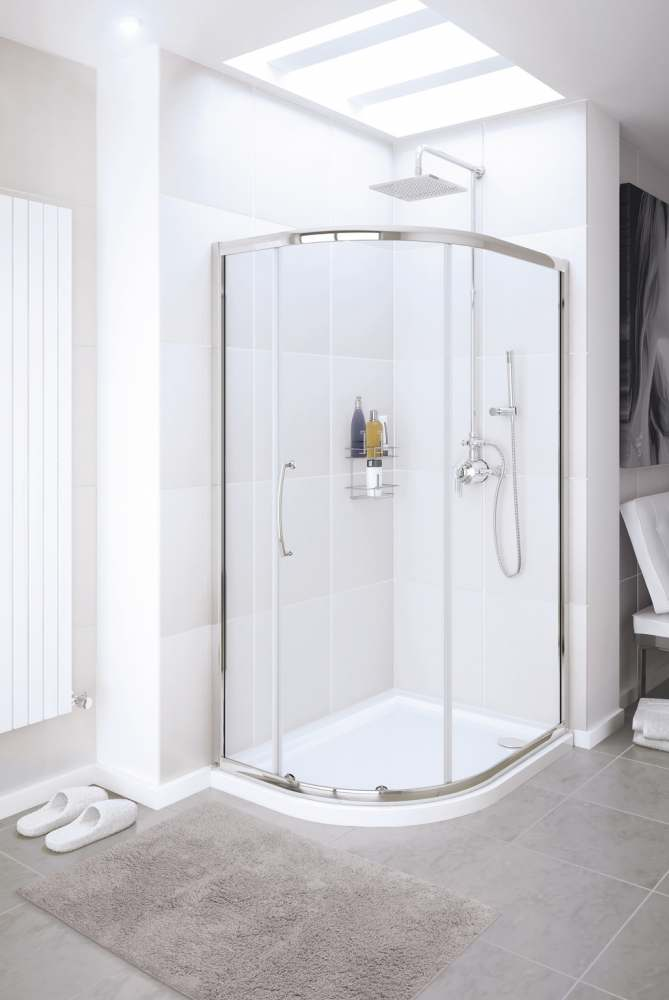 1200 x 900mm Offset Single Door Quadrant Shower Enclosure - Silver - Lakes - Classic