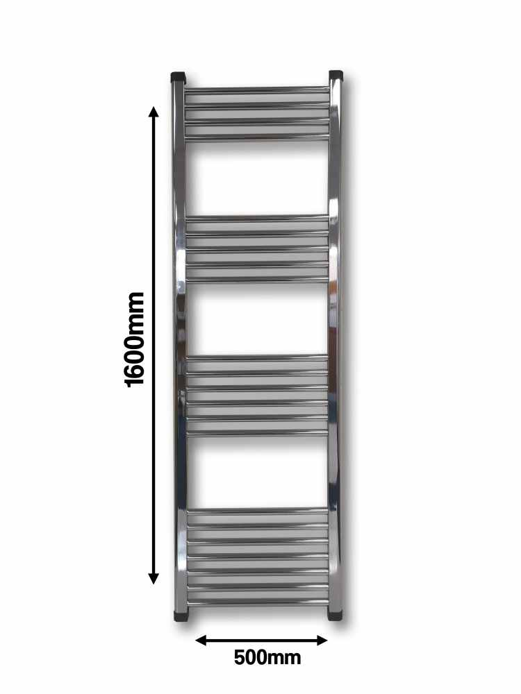 G4K Bathroom Towel Radiator - 1600 x 500 - Chrome - FREE Valves