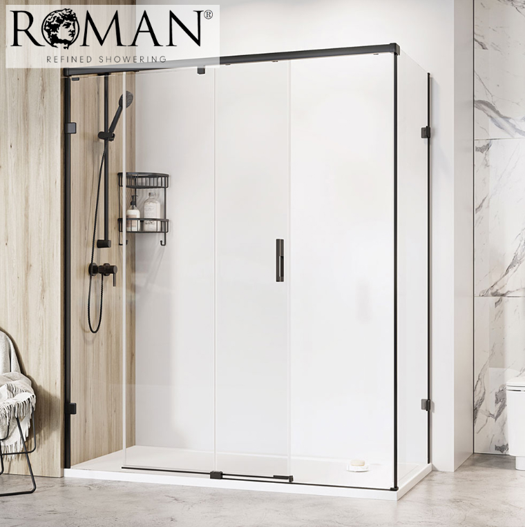 Roman Liberty 1400 x 900mm Sliding Door Shower Enclosure for Corner Fitting, 10mm Glass