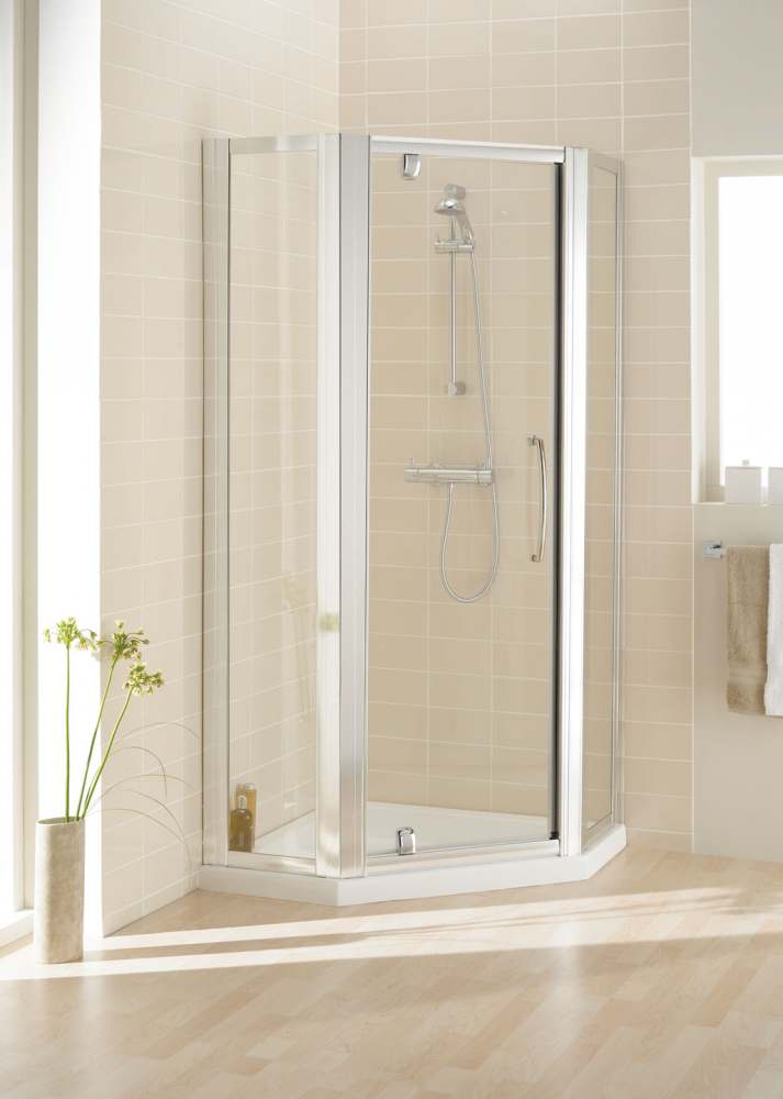 900mm Semi Frameless Pentagon Bi-Fold Shower Door with Side Panels - White - Pentangle Enclosure - Lakes - Classic