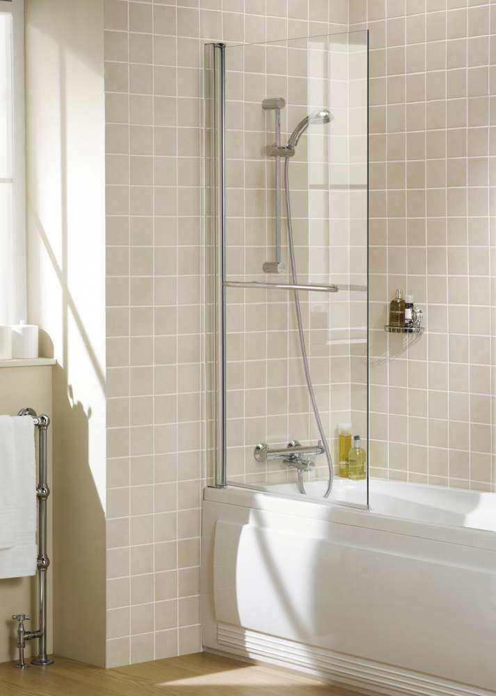 Square Bath Shower Screen With Towel Rail - Silver - 800 x 1500 - 6mm Glass - Lakes - Coastline
