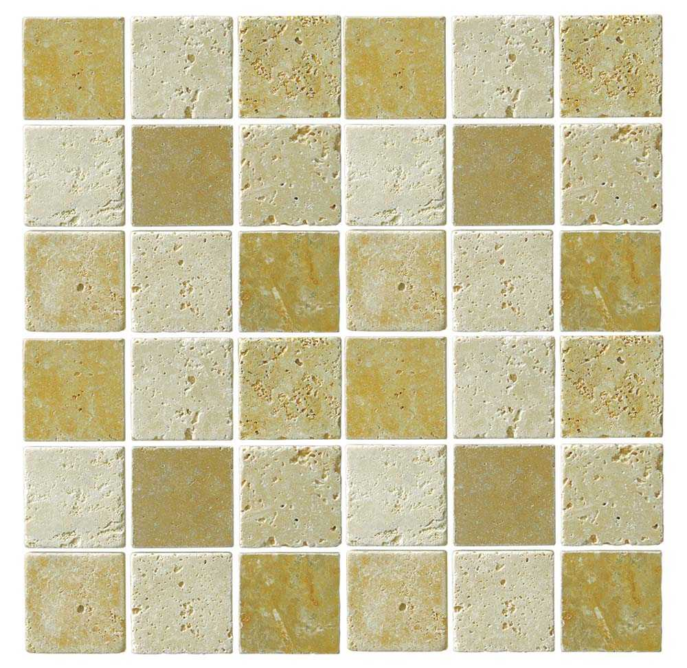 Abacus Travertine Marble Large Mosaic Mixed Colour Sheet 30 x 30cm Box of 5