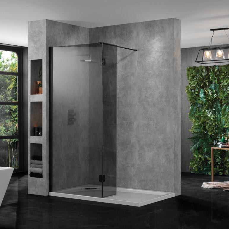 Wetroom 10 Smoked Glass Shower Panel 1400mm by Aquadart