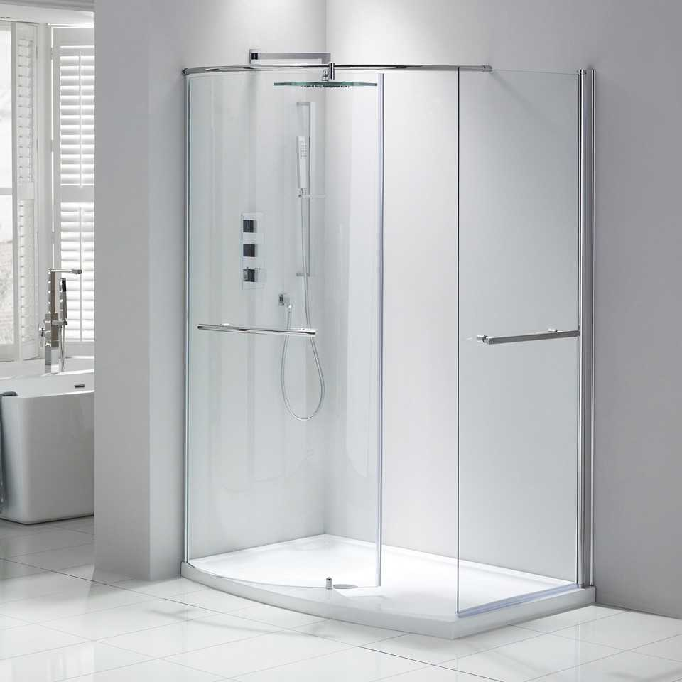 Frontline Aquaglass Purity Curved Walk-in Shower - 1350 x 900mm ...