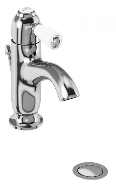 Burlington Chelsea Traditional Curved Mono Basin Tap with Pop Up Waste