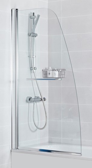 Haven Plus Single Panel Angled Bath Shower Screen with Towel Rail - 1500mm -H2D1CS
