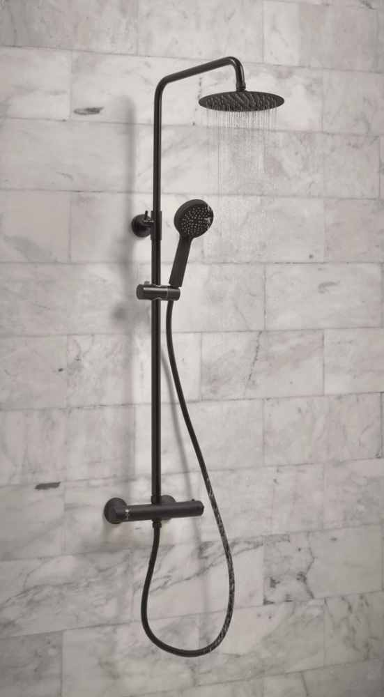 Black Kate Round Dual Head Thermostatic Shower - Fixed Head & Adjustable Hand Set - Signature Showers