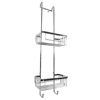 Roman RSB01 Chrome Double Hanging Shower Basket with Hooks