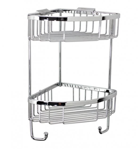 Roman Double Corner Shower Basket With Hook RSB05