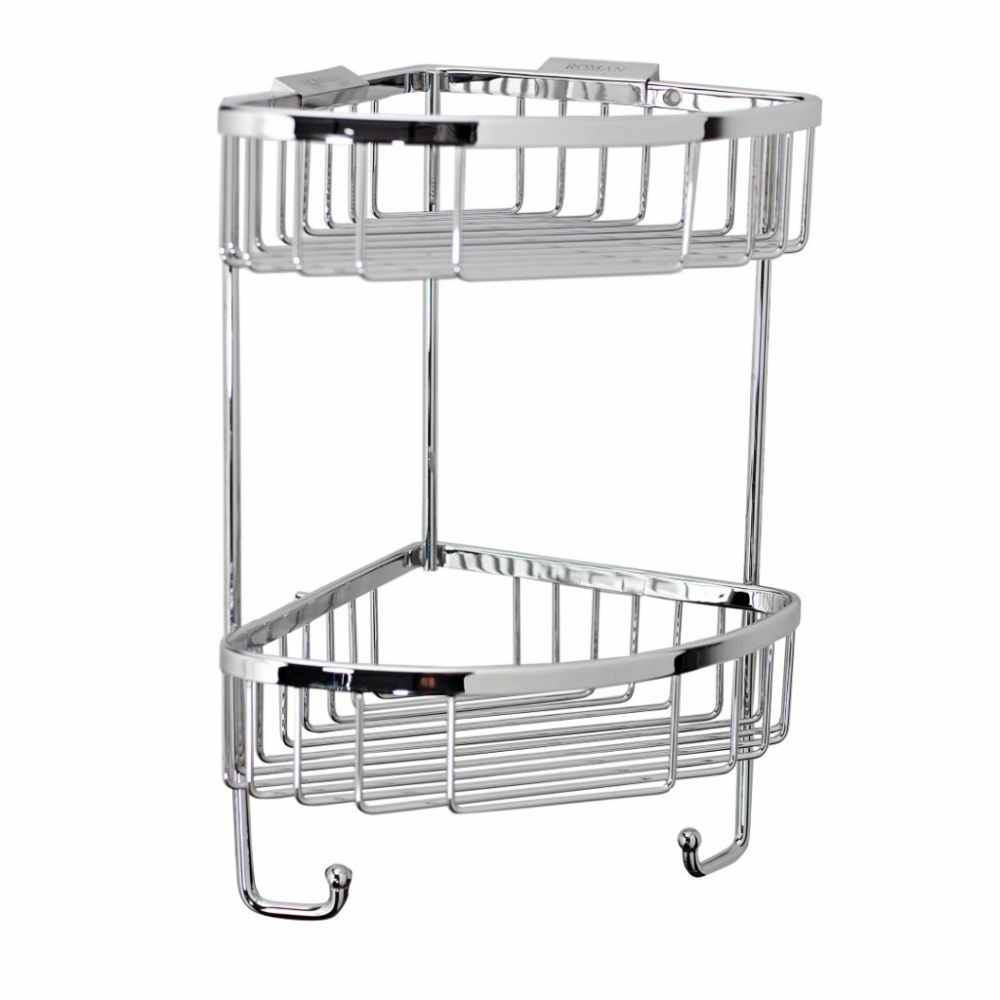 Roman Double Corner Shower Basket with Hook-  RSB05 - Chrome