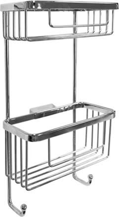 Roman Chrome Double Rectangular Shower Basket with Hooks RSB07