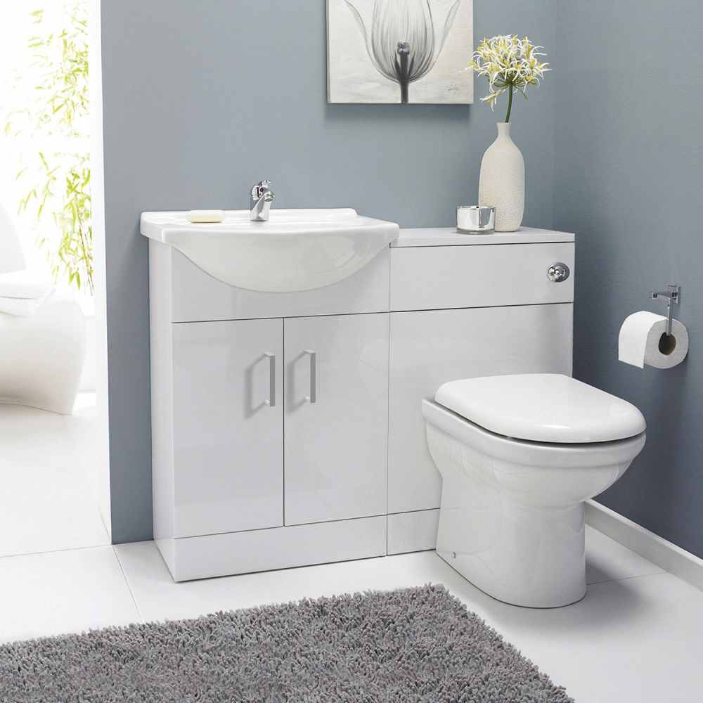 Classic White Gloss Bathroom Furniture Pack Inc Cistern, Toilet Pan, Seat & Basin